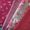 Set 4 ชิ้น : ผ้าคอตตอน 100% โทนสีแดง 3 ลาย และผ้าแคนวาส ลายจุด ชิ้นละ1/8 ม.(50x27.5ซม.)