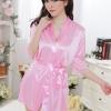 kkm027 ชุดนอน ชุดคลุม เสื้อคลุมสีชมพู ผ้านิ่มลื่น เนื้อผ้าดี พร้อมจีสตริง สวยคะ