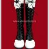 รองเท้าบู๊ทโกธิคโลลิต้าพังค์ ริบบ้อนเลซ สีดำ โบว์ขาว