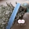 ริบบิ้นผ้าแถบ สีฟ้า แต่งเส้นสีขาว กว้าง 1 ซ.ม. แบ่งขายเป็นหลา