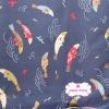 ผ้าคอตตอนญี่ปุ่น 100% 1/4ม.(50x55ซม.) พื้นสีน้ำเงิน ลายปลาคาร์ฟ