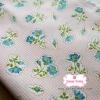 ผ้าคอตตอนเกาหลีแท้ 100% 1/4 เมตร (50x55 cm.) พื้นขาวลายตารางสีชมพูแต่งด้วยดอกไม้