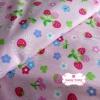 ผ้าคอตตอนไทย 100% 1/4 ม.(50x55ซม.) พื้นสีชมพูพาสเทล ลายสตอเบอร์รี่และดอกไม้
