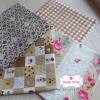 Set 4 ชิ้น : ผ้าคอตตอนไทย 3 ลาย และ ผ้าคอตตอนลินินลายตาราง โทนสีน้ำตาลอ่อน