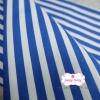 ผ้าคอตตอนไทย 100% 1/4 ม.(50x55ซม.) ลายทางน้ำเงินขาว