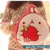 หมอนผ้าห่ม ลายกระต่าย Molang ถือสตรอเบอร์รี่ สีชมพู ## พร้อมส่งค่ะ ##