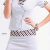 air063 ชุดคอสเพลย์ แอร์โฮสเตสเสื้อสีขาว ผ้าพันคอแดงขาวน้ำเงิน ผ้าสวยเป๊ะมากค่ะ
