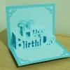 A53 การ์ดป๊อปอัพไดคัท Happy Birthday 2 สีฟ้า