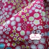 ผ้าคอตตอนไทย 100% 1/4ม.(50x55ซม.) พื้นสีชมพูเข้ม ลายสวนดอกไม้