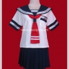 ชุดนักเรียนญี่ปุ่นแขนสั้น ปกกะลาสีกรมท่า ไทด์แดง มีกระเป๋าที่อกเสื้อ