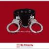 สร้อยข้อมือพังค์ Punk Wristband สีดำ ตกแต่งด้วยกุญแจมือสีเงิน