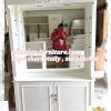 ตู้โชว์กระจกเงากรุหลังวินเทจสีขาวสำหรับร้านค้า