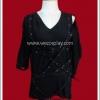 เสื้อพังค์บอมเบอร์เบลท์ อะซิมเมทรี สีดำ Punk Black Bomber Belt Asymmetry Cutsew