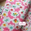 ผ้าคอตตอนไทย 100% 1/4 ม.(50x55ซม.) พื้นสีชมพู ลายดอกไม้สีขาว