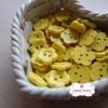 กระดุมลายดอกไม้สีเหลือง ขนาด 1.5 ซม. จำนวน 12 เม็ด(1โหล)