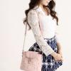 กระเป๋าหนังสะพายข้างสุภาพสตรี สีชมพูอ่อนสวยๆ ตกแต่งด้วยกนังลายดอกไม้สีขาว น่ารัก ดุดี น่าใช้มากๆ เลยจ้า