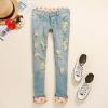 พร้อมส่ง ::MO146:: กางเกงยีนส์ แบบน่ารัก ตัดต่อผ้าลายจุดสีส้มด้านใน เหมือนแบบ 100%