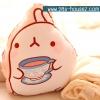 หมอนผ้าห่ม ลายกระต่าย Molang ถือแก้วชา สีครีม ## พร้อมส่งค่ะ ##
