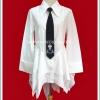 เสื้อเชิ้ตพังค์ไซม่อน สีขาว เนคไทดำ White Simon Punk Shirt with Black Necktie