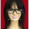 แว่นตาพลาสติกอย่างดี แบบเหลี่ยม กรอบสีดำ ขาแว่นสีแดง Fancy Cosplay Glasses