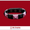สร้อยข้อมือพังค์ Punk Wristband ตอกหมุด 1 แถว สีดำชมพู