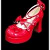 รองเท้าโกธิคโลลิต้าพังค์ คิวท์ปาร์ตี้ริบบ้อนฮีล สีแดง ผิวมัน