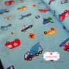 ผ้าคอตตอนญี่ปุ่น 100% 1/4ม.(50x55ซม.) พื้นสีฟ้า ลายรถ