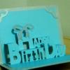 A54 การ์ดป๊อปอัพไดคัท Happy Birthday 2 ปกสีเงิน
