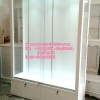 ตู้โชวกระจกใส วินเทจ สีขาว สำหรับบ้านเเละร้านค้า