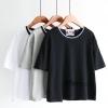 เสื้อยืดแขนสั้น สีพื้้นยอดนิยม ตัดขอบคอเสื้อทูโทนคู่เล็ก เรียบง่ายสบายๆ แบบมินิมอล