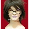 แว่นตาพลาสติก แบบกลม กรอบสีดำ เลนส์ใส Fancy Cosplay Glasses