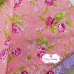 ผ้าคอตตอน100% 1/4ม. (50x55ซม.) พื้นสีส้มโอรส ลายดอกกุหลาบใหญ่