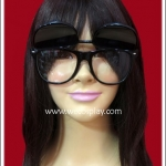 แว่นตากรอบพลาสติกสีดำ มีเลนส์ 2 ชั้น สามารถเปิดเลนส์ได้ Fancy Cosplay Glasses