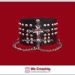 สร้อยข้อมือพังค์ Punk Wristband ประดับด้วยกางเขนกะโหลก หมุดกลม และสายโซ่ สีเงิน