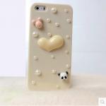เคสไอโฟน 5/5s/SE (HardCase)กรอบสีเบจประดับมุก หัวใจกระต่ายหมีแพนด้า