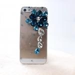 เคสไอโฟน 6 (Hard Case ) กรอบใส ประดับเพชรและคริสตัลดอกไม้สีฟ้า
