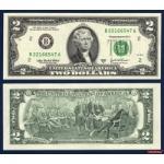 ธนบัตรประเทศ สหรัฐอเมริกา USA-P516 ชนิดราคา 2 DOLLARS (ดอลลาร์) ของแท้ ยังไม่ใช้
