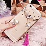 เคสไอโฟน 6 Plus กรอบใส ประดับปีกนกเพชรพร้อมพู่ห้อยสีชมพูเข้ม