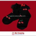 ถุงเท้าโกธิคโลลิต้า แบบสั้น สีดำ ลายเชอรี่สีแดง