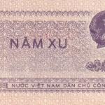 ธนบัตรเวียดนามเหนือ รหัส P76a ชนิด 5 xu สภาพ UNC ไม่เคยผ่านการใช้งาน ปี 1975