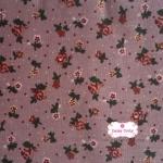 ผ้าคอตตอนลินิน 1/4เมตร พื้นม่วง ลายดอกเล็ก