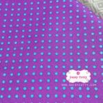 ผ้าคอตตอนไทย 100% 1/4 ม.(50x55ซม.) พื้นสีม่วงหวาน ลายจุดสีฟ้า