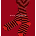 ถุงเท้าโกธิคโลลิต้าพังค์ ยาวระดับเข่า ลายขวาง สีดำแดง