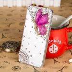 เคสไอโฟน 6 Plus (Hard Case ) กรอบใส ประดับเพชรและผีเสื้อสีม่วง