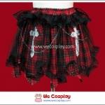 กระโปรงพังค์ ลายสก๊อตสีดำแดง Black and Red Gingham Punk Skirt สกรีนลายกางเขน ตกแต่งด้วยผ้าตาข่ายแมงมุม