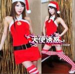 xm010 ชุดแซนตี้ ชุดซานต้าสาว แซกสั้นคล้องคอ พร้อมหมวกและเข็มขัดคะ
