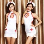 ns039 ชุดพยาบาล ชุดคอสเพลย์ พยาบาล แซกสีขาว แขนเว้า คอเต่า ช่วงอกผูกด้านหลัง มีหมวกและจีสตริงคะ