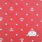 ผ้าคอตตอนลินิน 1/4เมตร พื้นสีแดง ลายสมอเรือเล็กสลับหัวใจสีขาว