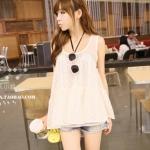 พร้อมส่ง ::MO080:: เสื้อแฟชั่น เสื้อแขนกุดน่ารัก สีขาว