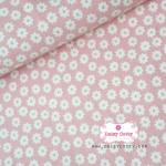 ผ้าคอตตอนไทย 100% 1/4 เมตร พื้นสีชมพูหวาน ลายดอกไม้สีขาว